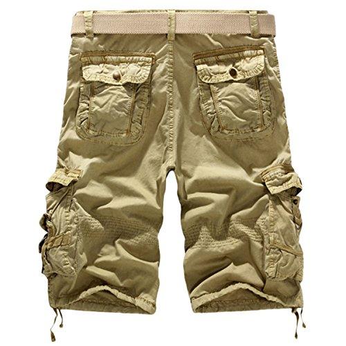 Panegy Herren Casual Vintage Cargo Shorts Bermuda Kurze Hose mit Geschenktem Gürtel Inch Größe - Khaki Khaki