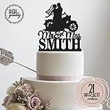 NVBFH43545 Bride & Groom mit einer HD-Fahrrad–In der Frau Biker Motorrad Chopper Personalisierte Hochzeits-Dekoration Nachname personalisiert