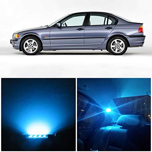 WLJH Coche LED Accesorios de luz interior Kit de reemplazo Kit de paquete + Luces de placa de matrícula Lámpara para 1999-2006 E46 Sedan Wagon Coupe (17 piezas, Azul hielo)
