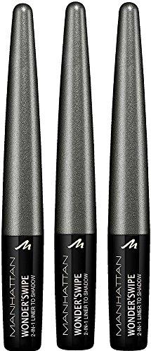 Manhattan Wonder'swipe 2-in-1 schimmernder Eyeliner und Lidschatten, Farbe 600 Fashun, Grau, 3er...