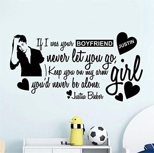 Waofe Justin Bieber Zitate Wand Decor Fashion Vinyl Wandaufkleber Für Mädchen Zimmer Dekoration Entfernbare Wandtattoos Home Kunst Wandbild 57X30Cm (Justin Geburtstag-dekorationen Bieber)