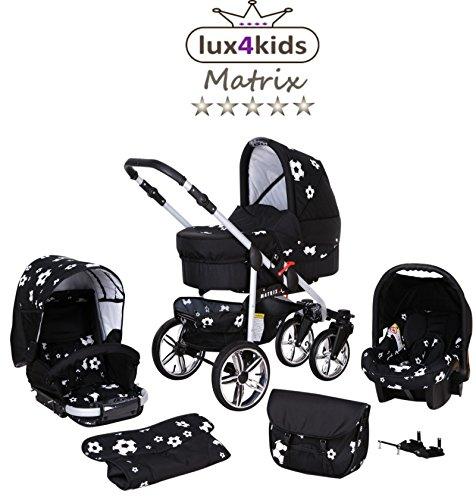 Chilly Kids Matrix II Kinderwagen Sommer-Set (Sonnenschirm, Autositz, Regenschutz, Moskitonetz, Schwenkräder) 21 Schwarz & Fußballfieber