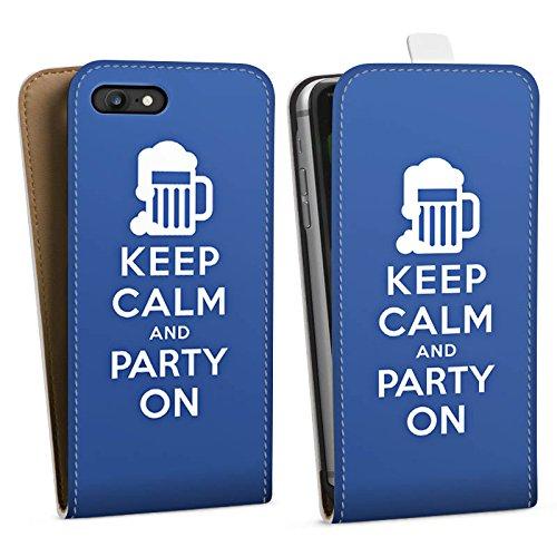 Apple iPhone X Silikon Hülle Case Schutzhülle Keep Calm Party Bier Downflip Tasche weiß