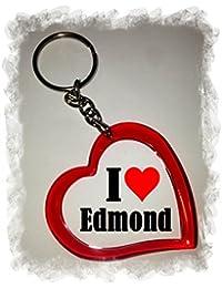 """EXCLUSIVO: Llavero del corazón """"I Love Edmond"""" , una gran idea para un regalo para su pareja, familiares y muchos más! - socios remolques, encantos encantos mochila, bolso, encantos del amor, te, amigos, amantes del amor, accesorio, Amo, Made in Germany."""