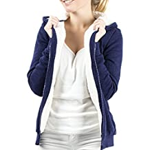 Casual Standard Damen Hoodie Kapuzenpullover Sweatjacke Fleecejacke Übergangsjacke Kapuzenjacke Zip Pullover Kapuze Kapuzenpulli Hoody gefüttert warm