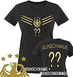 Comedy Shirts - WM 2014 - DEUTSCHLAND - DELUXE F1-VH-Wunsch - Damen V-Neck T-Shirt - Schwarz/Gold Gr. M