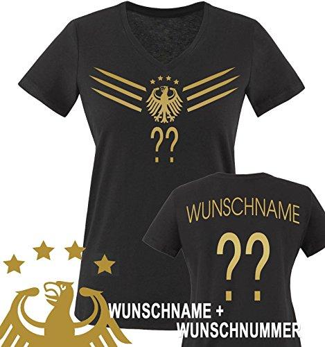 Comedy Shirts - WM 2014 - DEUTSCHLAND - DELUXE F1-VH-Wunsch - Damen V-Neck T-Shirt - Schwarz / Gold Gr. L