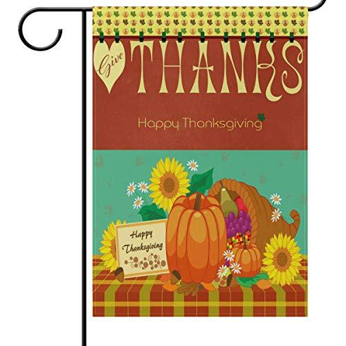 Wamika Thanksgiving Day Gartenflaggen 12 x 18 doppelseitig, Geschenk Kürbis Sonnenblume Kornukopie Ernte Willkommen Herbst Herbst Outdoor Hof Haus Flagge Banner Thanksgiving Dekoration 12x18in