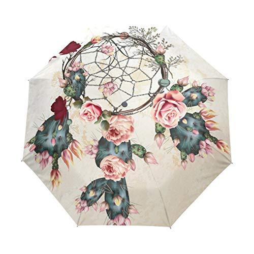 Hunihuni - Paraguas Plegable con diseño de Flores y atrapasueños (Resistente al Viento, Resistente al Agua, protección contra Rayos UV)