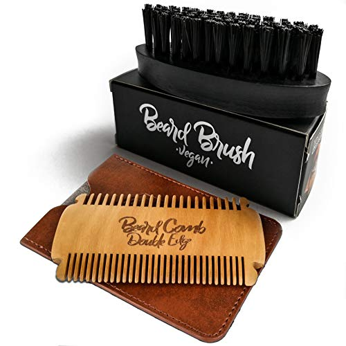 Bartbürste und Bartkamm im Set von Gold Lions I Vegan oder Wildschweinborsten