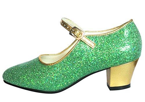 La Senorita Spanische Flamenco Anna Frozen Schuhe - Grün Gold Glamour - Größe 31