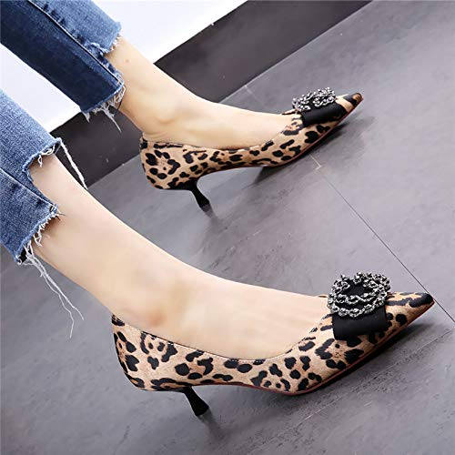 HOESCZS 4cm niedrige Ferse Schuhe 2019 Frühjahr Neue Spitze Satin Leopard Stiletto High Heel Strass kleine Einzelschuhe,39,Leopardenmuster Leopard Satin-heels