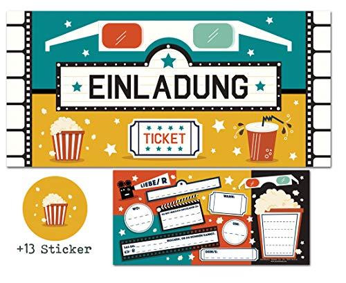 CardWheels 12 Einladungskarten Kino + 13 Aufkleber Gratis - Mädchen Jungen / Kino-Party Film Popcorn Mitgebsel Karten Geburtstag