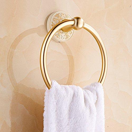 e tisch wei  matt ZWL Bad Handtuch Ring, Handtuch Anhänger Waschbecken Ring Handtuch Kleiderständer Restroom Hardware Zubehör Toilette Ring Handtuch Rack Waschen Tisch Aluminium Matt Gold 17cm , -Badezimmerzubehör ( Farbe : #2 )