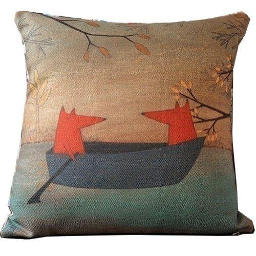 fox-boating-cartoon-style-handmade-cotton-linen-sofa-decor-throw-pillow-covers-pillowcase-sham-decor