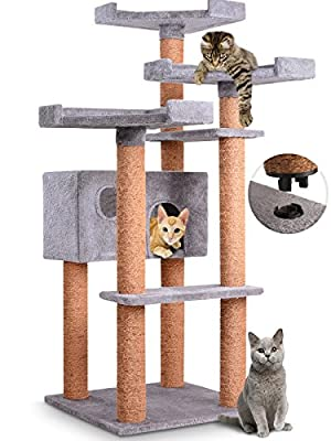 Leopet Reinforced Quick Connect Cat Tree (Choice of Colours) 71.4/71.4/127.4 cm Scratching Post with Big Caves and Sightseeing Platforms Climbing Furniture Kitten Scratch Tower