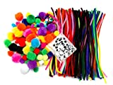 Edukit Crafting Kit 500 Pieces, including Pipe Cleaners, Pompoms and Googly Eyes; Various Sizes and Colours - Great for Children's and Adults 'Crafts, for Home or Workshops