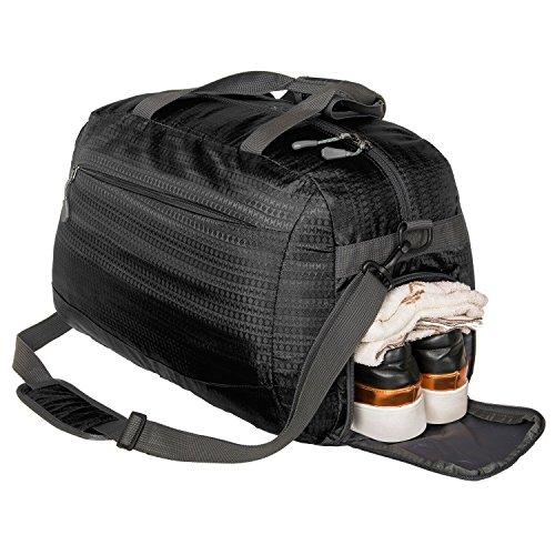Coreal Damen Herren Sporttasche Reisetasche mit Schuhfach Schwarz