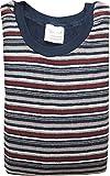 Herren Frottee Pyjama mit Rundhals, Gestreiftem Oberteil, Uni Hose, Marine, 59527, Gr. 50
