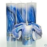Candela Lotus-Kerze Aquarell Blau Töne 28 cm