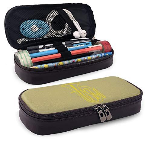 Tuba Federmäppchen aus Leder mit Reißverschluss für Schule, Arbeit, Büro, Herren und Frauen, Reise-Make-up-Tasche, große Kapazität, wasserdicht