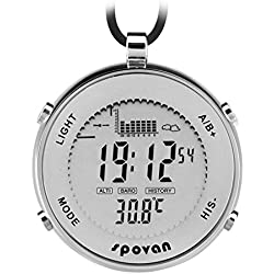 SPOVAN Men's Sports Reloj de Bolsillo Fishing Remind EL Backlight Altimeter Barometer Relojes de Exterior