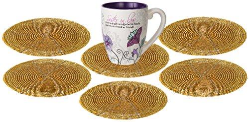 Für Untersetzer Getränke Gold (SKAVIJ saugfähige Getränk Untersetzer Set 6 - dekorative Gold Coaster Tischset für Getränke, Getränke, Weingläser)