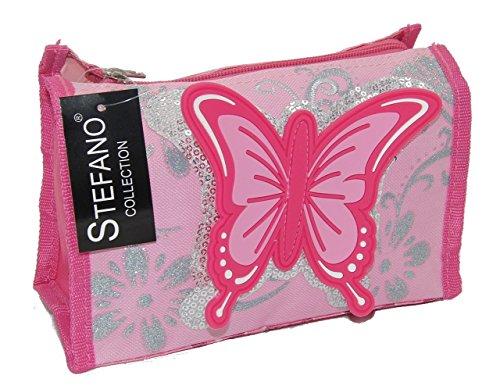 Stefano STEFANO Kinder Reisegepäck Schmetterling pink rosa (Waschtasche)
