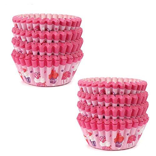 GOOTRADES 200 Stk Papier Cupcake Form Muffin Kasten Schalen Party Behälter Backen Dekor (Rosa)