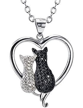 Silber Mountain bicolor 925Sterling Silber Cubic Zirkonia Animal Anhänger, 45,7cm Rolo Kette Halskette