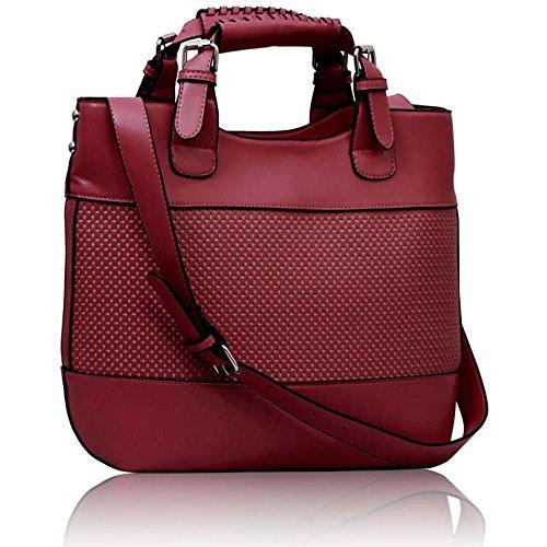 Leesun London Damen Kunstleder Handtaschen Große Drei Fächern Frauen Designer Taschen Tote Schulter Taschen I - Fuchsie