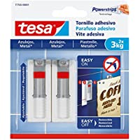 tesa 77765-00001-00 77765-00001-00-Smart Mounting System Clavos Removíbles SMS Tornillo Adhesivo Ajustable hasta 3Kg Azulejos, Not_applicable, Set de 2 Piezas