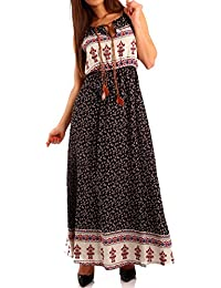 Damen Maxikleid Kleid mit Träger Allover Print