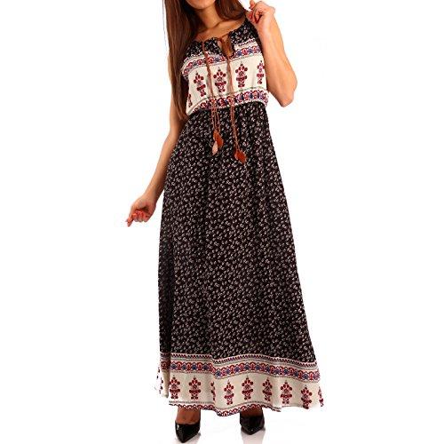 Damen Maxikleid Kleid mit Träger Allover Print, Farbe:Schwarz/Kleine Blümchen;Größe:One Size