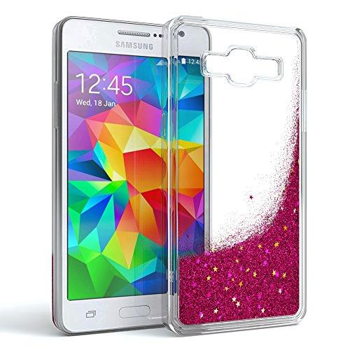 EAZY CASE Hülle für Samsung Galaxy Grand Prime Schutzhülle mit Flüssig-Glitzer, Handyhülle, Schutzhülle, Back Cover mit Glitter Flüssigkeit, aus TPU/Silikon, Transparent/Durchsichtig, Pink -