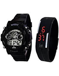 Styllent Sports Watch Collections - Digital Black Dial Sports Watch & Unisex Silicone Black Led Digital Watch...