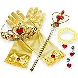Faburo 5pcs Princesa Vestir Accesorios es Corona imperial dorada Princesa belle amarillo Vestir Accesorios Tiara,Varita Mágica,Guantes y collar
