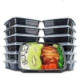 Misswonder(TM) Wegwerfbare Lebensmittelbehälter Mahlzeitvorbereitungsschüsseln, Kunststoffbehälter mit Deckel rechteckige Lebensmittelbehälter für Heim-, Arbeits- und Reisegebrauch, ohne BPA, sicher für Gefrierschrank und Mikrowelle, 750ML, 12 Stück