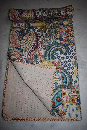 Tribal Asian Textiles Handgefertigt Paisley gedruckt Kantha Quilt Kantha Betten, indische Baumwolle Tagesdecke, Bohemian Kantha Werfen, Floral Bett Cover -