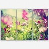 ge Bildet Hochwertiges Leinwandbild XXL Pflanzen Bilder - Frühling - Blumen Natur Wiese Rosa Pink Bunt - 120 x 80 cm mehrteilig (3 Teilig)  Wanddeko Wandbild Wandbilder Wohnzimmer deko Bild   2206 L