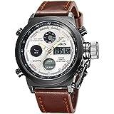 Alienwork Reloj Digital- Analógico Cronógrafo LCD Multi-función Piel sintética plata marrón OS.AD1601-05