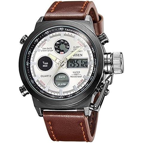 Alienwork Reloj Digital- Analógico Cronógrafo LCD Multi-función Piel sintética plata marrón