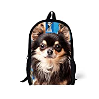 HUGSIDEA Cute Puppy Pattern Backpack Travel Sport School Bags for Kids (Chihuahua)