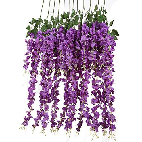 os 3.6 füße/stück künstliche Blumen gefälschte Wisteria Vine seidenblume für Hochzeit Dekorationen hausgarten Party Decor (Lila) ()