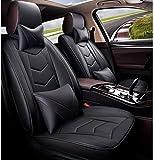 H.aetn Set coprisedili per seggiolino Auto Universale, coprisedili in Pelle Stile Sportivo coprisedili airbag Laterali compatibili per 5 posti, 9 Pezzi (Colore: Nero)