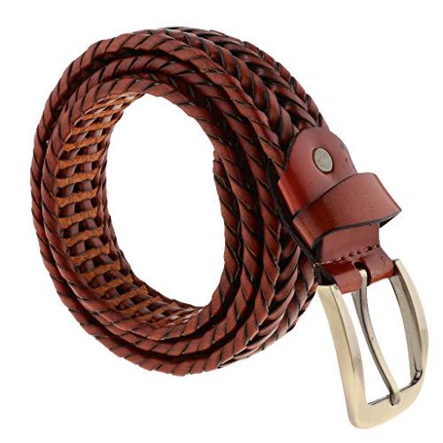 Baoblaze Cinturón de Cuero Trenzado Hebilla de Diente Recto Rectángulo para Pantalones Vaqueros Casuales de HOmbres - Café ligero, como se describe