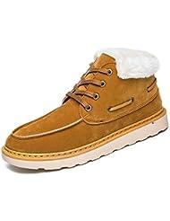 Bottes de neige en cuir pour hommes lacent des baskets de cheville haut haut chaussures d'hiver avec doublure de fourrure