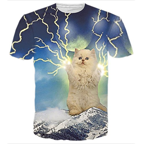Nette T-shirts Männer Für (BFUSTYLE Unisex nette Katze Blitz-Print Kurzarm T-Shirts Kleidung)