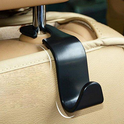 WINOMO 4pcs Auto Rücksitz Kopfstütze Veranstalter Aufhänger Lagerung Haken für Lebensmittel Tasche Handtasche (schwarz)