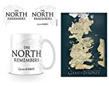 Set: Game of Thrones, The North Remembers Foto-Tasse Kaffeetasse (9x8 cm) Inklusive 1 Game of Thrones Postkarte (15x10 cm)